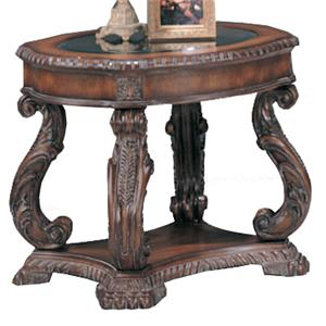 Traditional Oval End Table with Glass Inlay Top