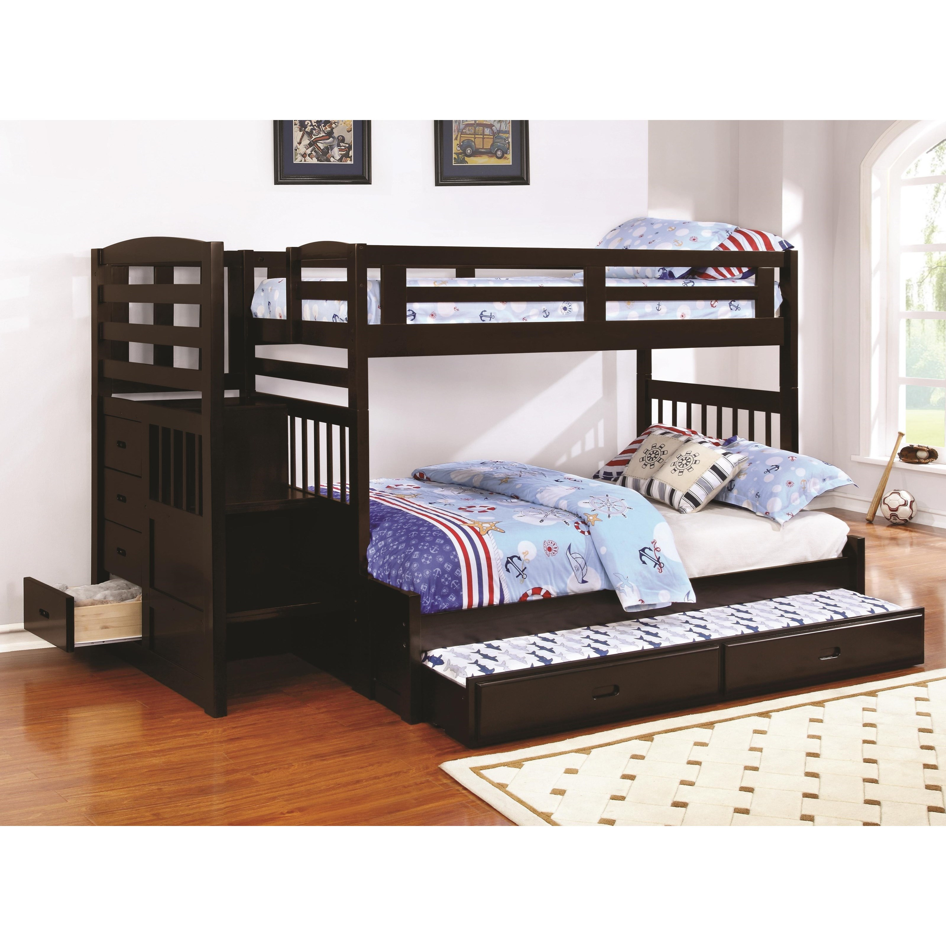 Dublin Twin over Full Bunk Bed with Trundle by Coaster at Northeast Factory Direct