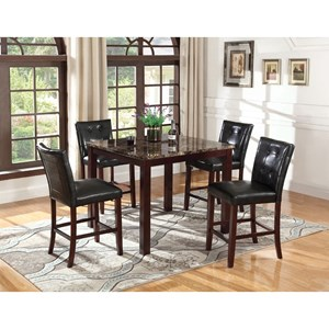 Counter Height Faux Marble Table and Counter Stool Set