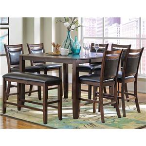 Casual 8 Piece Pub Table Set with Bench