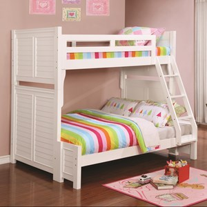 Louvered White Twin over Full Bunk Bed