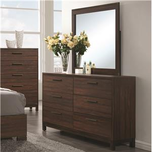 Dresser with Six Dovetail Drawers and Mirror