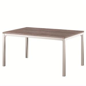 Casual Dining Table with Weathered Table Top and Chrome Finished Base