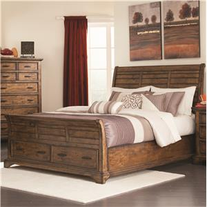 King Sleigh Bed with 2 Drawers