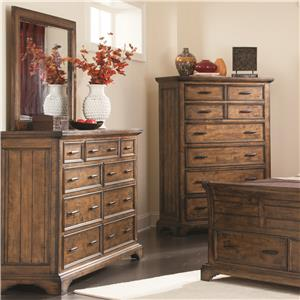 Dresser and Mirror Set with 9 Drawers