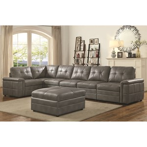 Contemporary 5 Seat Sectional with Padded Armrests