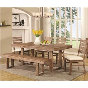 Rustic Table and Chair Set with Dining Bench