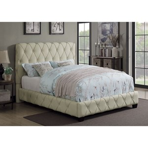 Upholstered Twin Bed with Button Tufting