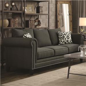 Transitional Rolled Arm Sofa with Pewter Nailheads