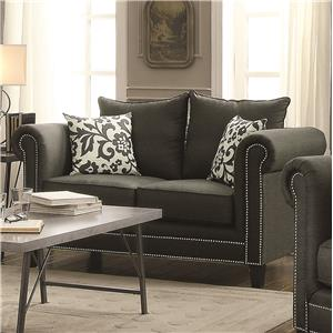 Transitional Rolled Arm Loveseat with Pewter Nailheads