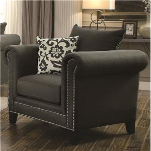 Transitional Rolled Arm Chair with Pewter Nailheads