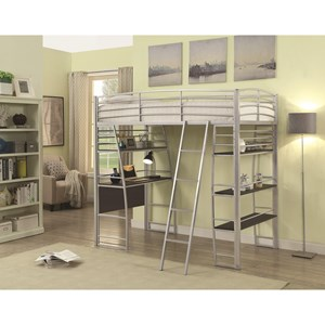 Twin Workstation Bed with Open Shelving