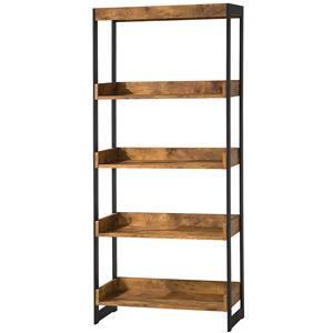 Industrial Bookcase with 4 Open Shelves