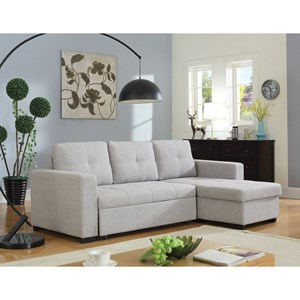 Beige Sectional Sofa with Sleeper