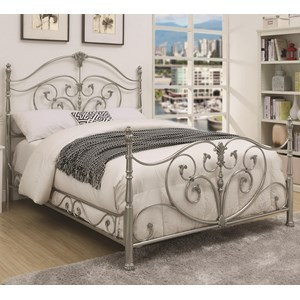 King Metal Bed with Elegant Scrollwork