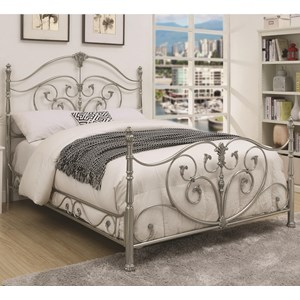 Queen Metal Bed with Elegant Scrollwork