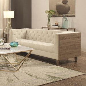 Tuxedo Sofa with Button Tufting and Weathered Wood
