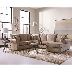 Cream Colored U-Shaped Sectional with Chaise