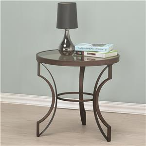 Round End Table with Bronze Frame and Glass Top
