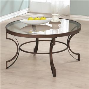 Round Coffee Table with Bronze Metal Frame