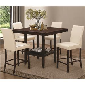 Counter Height Table Set with Leatherette Bar Stools