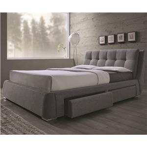 King Upholstered Bed with Storage Drawers