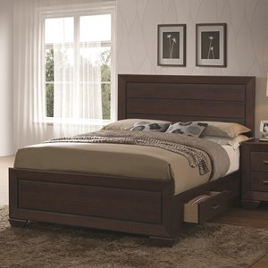 Transitional Queen Bed with Storage Drawers
