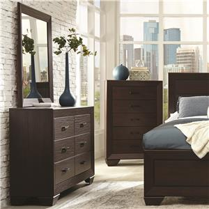 Transitional Six Drawer Dresser and Mirror Set