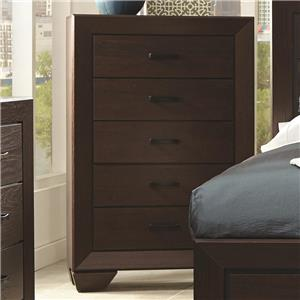 Transitional Five Drawer Chest of Drawers