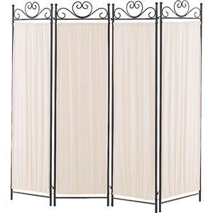 Four Panel Screen with Metal Frame & Gathered Fabric Panels