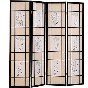 Four Panel Folding Floor Screen with Floral Motif