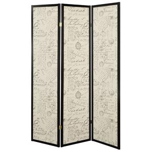 Three Panel Folding Floor Screen with Vintage Style Postal Script Panels