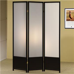 Three Panel Folding Floor Screen with Translucent Inserts
