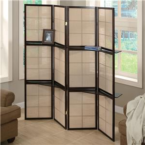 Folding Floor Screen with 4 Wood Shelves