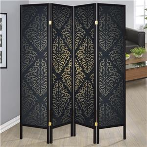Four Panel Folding Floor Screen with Black Finish & Gold Tone Damask Print