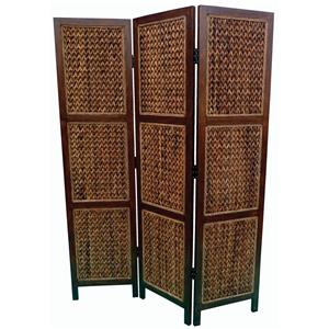 Three Panel Folding Floor Screen with Woven Banana Leaf Panels