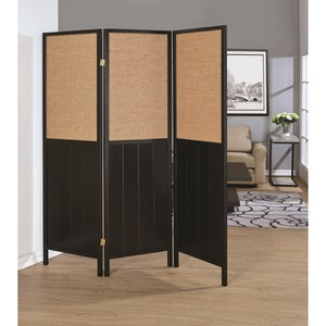 Three Panel Folding Screen with Woven Panels