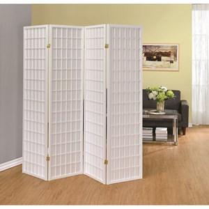 Four Panel White Folding Screen