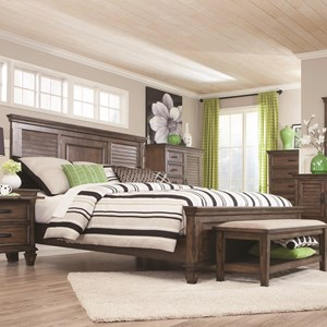 King Bed with Louvered Panel Headboard