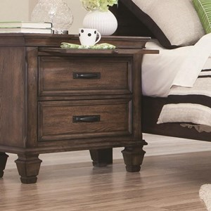 2 Drawer Nightstand with Pull Out Tray