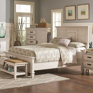 California King Bed with Louvered Panel Headboard