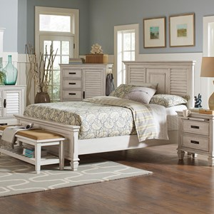 Queen Bed with Louvered Panel Headboard