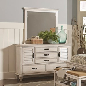5 Drawer Dresser and Mirror Combo with Louvered Doors