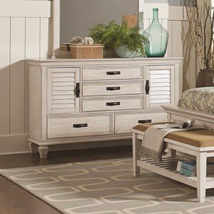 5 Drawer Dresser with 2 Louvered Doors