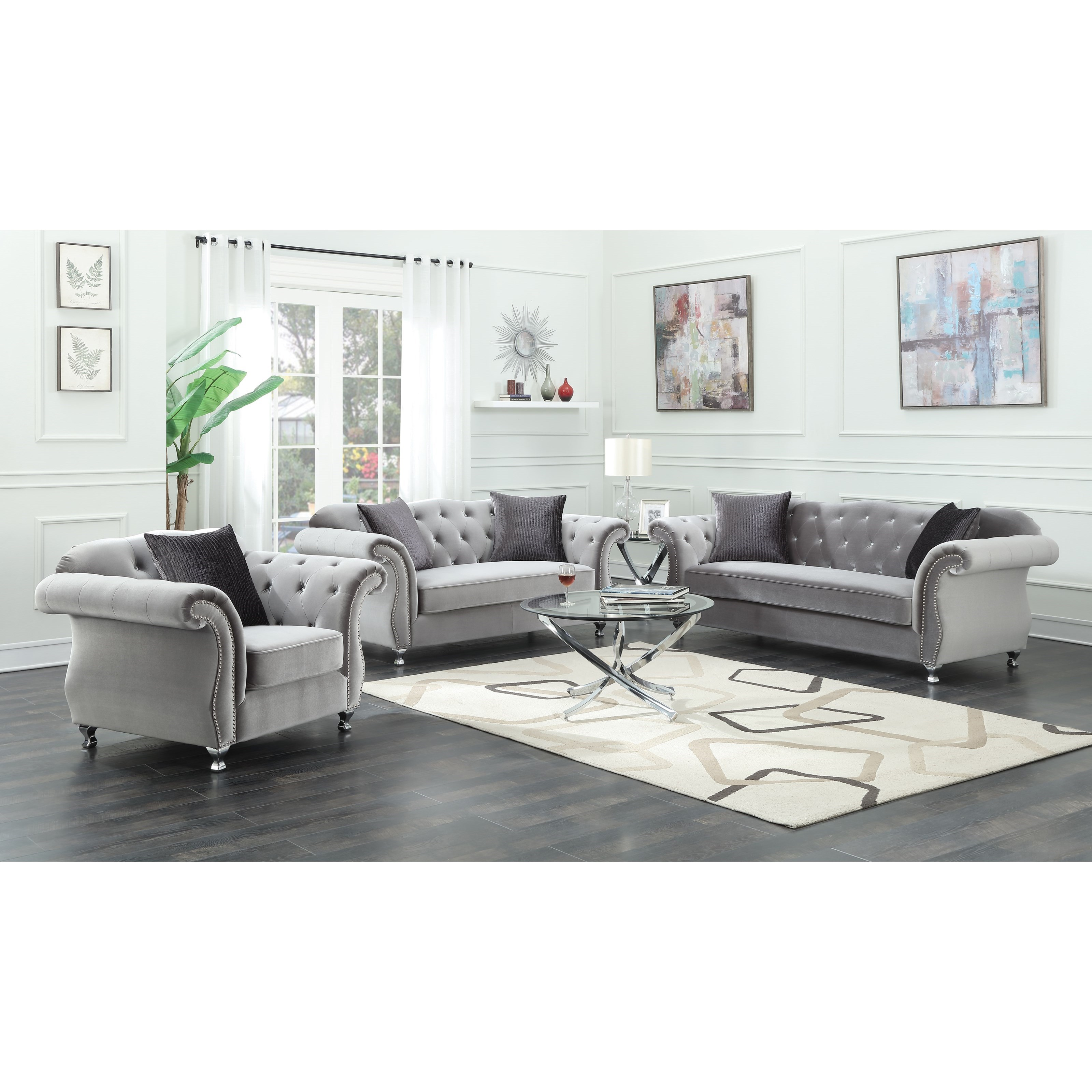 Frostine Stationary Living Room Group by Coaster at Beds N Stuff