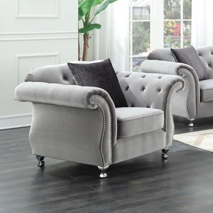 Upholstered Chair with Crystal Button Tufting