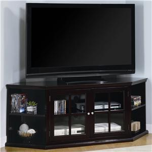 Transitional Corner Media Unit with Glass Doors
