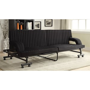Black Sofa Bed with Metal Frame