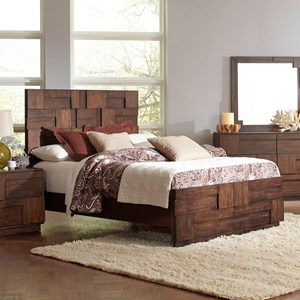 California King Bed with Geometric Layered Wood Patterns