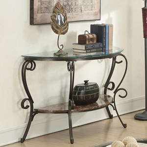 Sofa Table with Faux Marble Shelf